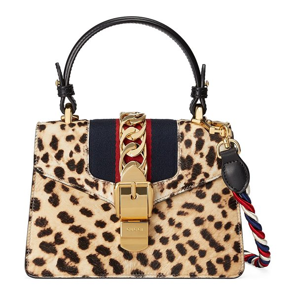 GUCCI Sylvie Mini Calf-Hair Satchel Bag - Gucci satchel bag in leopard-print dyed calf hair...