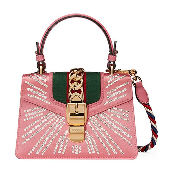 Gucci Sylvie Mini Embellished Satin Top-Handle Satchel Bag in pink - Gucci satchel bag in crystal-embellished satin. Golden...