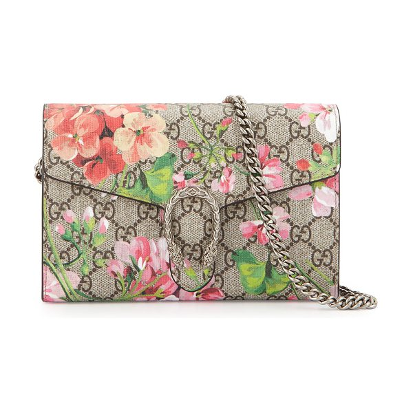 Gucci GG Blooms Dionysus Wallet on a Chain in rose multi