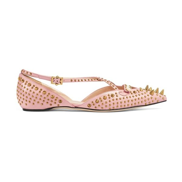 Gucci unia studded flat in blush leather - A mix of burnished studs seen throughout Gucci's latest...