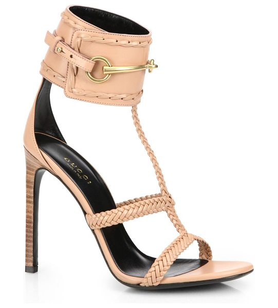 "Gucci Ursula horsebit braided sandals in nude - Stacked heel, 4.25"" (110mm)Leather upperLeather lining..."