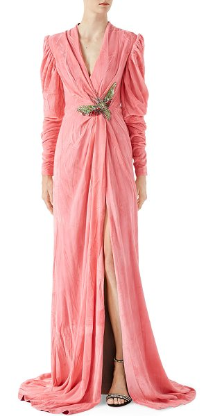 Gucci Velvet Gown with Draping in pink - Classic viscose silk velvet with embroidery. Crystal and...