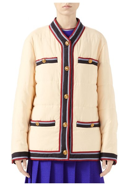 Gucci washed puffer jacket in moonstone ivory mix