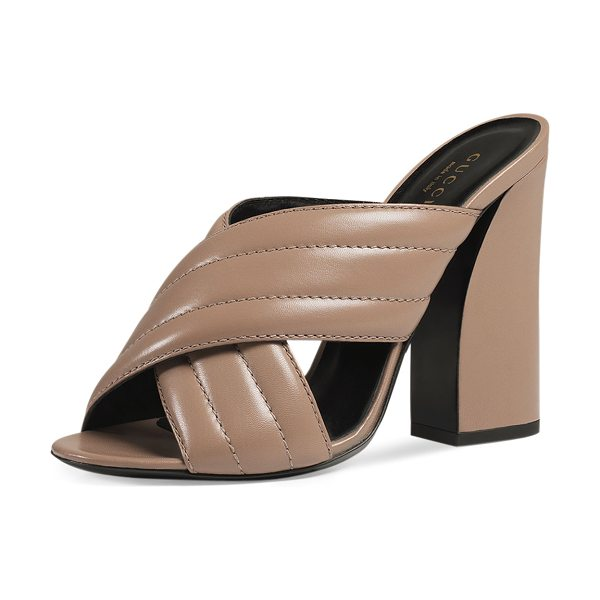 "GUCCI Webby Leather 110mm Sandal - Gucci kid leather sandal. 4.3"" covered heel. Open toe...."