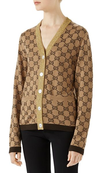 Gucci wool & cashmere cardigan in camel-brown - Luxurious logo printed cardigan with metallic...