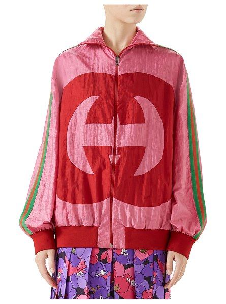 Gucci Zip-Front Technical Nylon Jacket w/ GG Intarsia in pink pattern