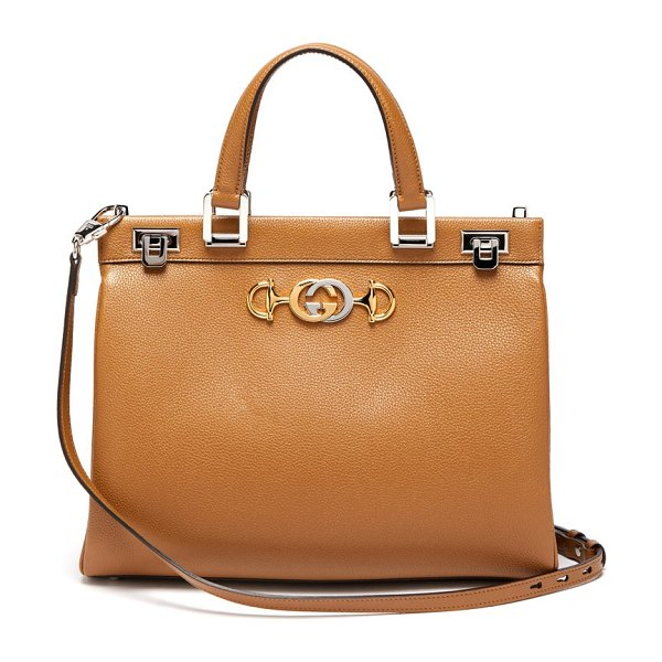 Gucci zumi medium leather handbag in beige