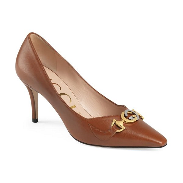 Gucci zumi square toe pump in brown