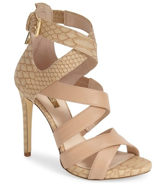GUESS abby strappy sandal in natural leather - A reptile-embossed wrapped stiletto heel, counter and...
