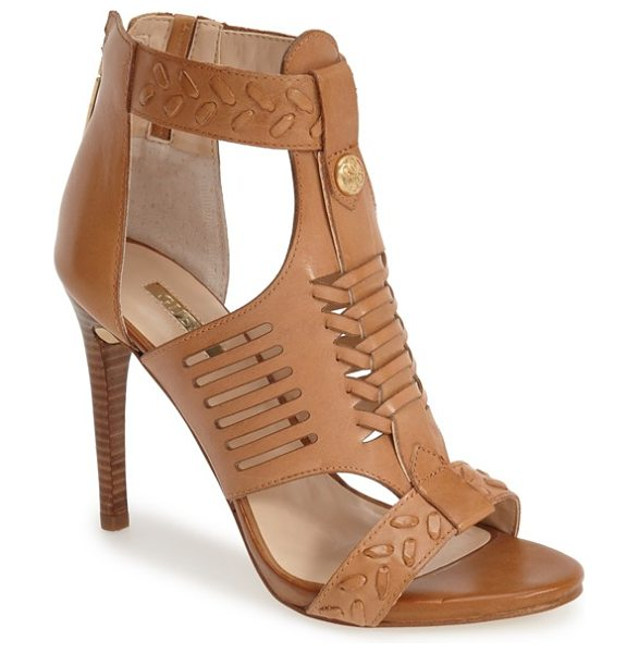 GUESS corale huarache sandal in brown - Huarache-inspired woven detailing at the vamp and...