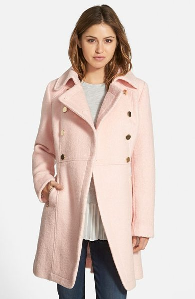 GUESS double breasted boucle cutaway coat in pale pink - A broad notch collar and double-breasted styling with...