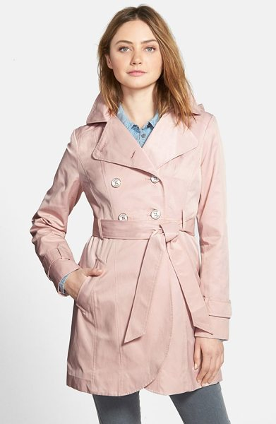 GUESS double breasted trench coat with detachable hood in blush - A cotton-blend trench accented with metallic-rimmed logo...