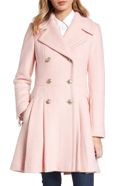 GUESS double breasted wool blend coat in pale pink - Gleaming goldtone buttons add military polish to a warm...