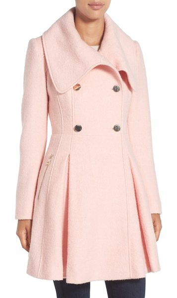 GUESS envelope collar double breasted coat in pale pink - A dramatic envelope collar and a quartet of golden...