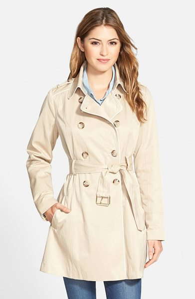 GUESS piped fit & flare trench coat - A flared skirt and bright piping add a feminine touch to...