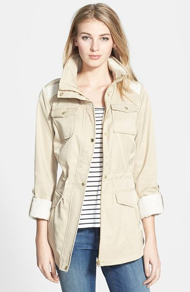 GUESS tweed detail roll sleeve anorak in khaki - A utility anorak gets a fresh spin with a tonal tweed...