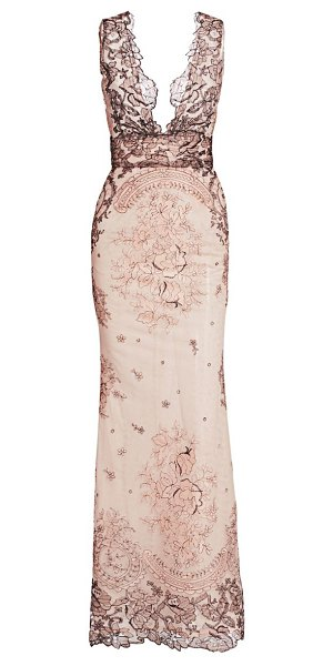 Gustavo Cadile sleeveless embroidered lace gown in blush