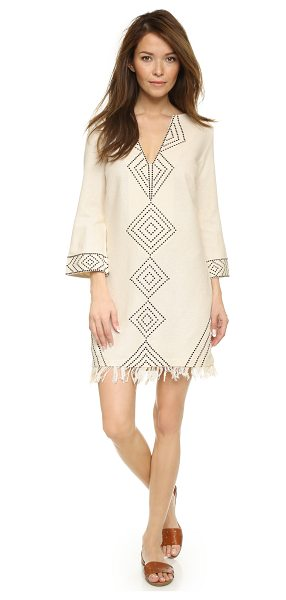 GYPSET Aya mini dress - Embroidered diamonds pop from fine, basket weave silk on...