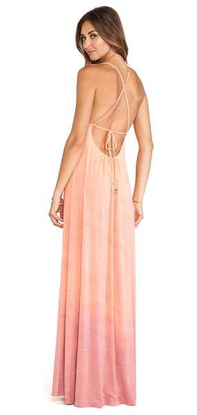 Gypsy 05 Desouk tie back maxi dress in peach - 93% bamboo 7% spandex. Dry clean only. Neckline to hem...