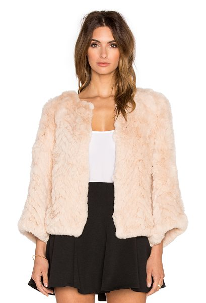 H Brand Jagger dyed rabbit fur jacket in peach