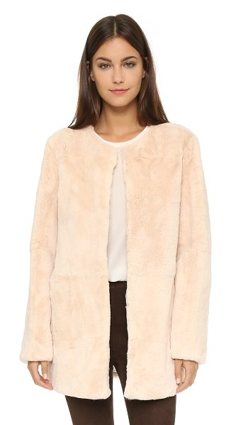 H Brand Shiloh fur coat in peach - A plush H Brand fur coat in a collarless silhouette....
