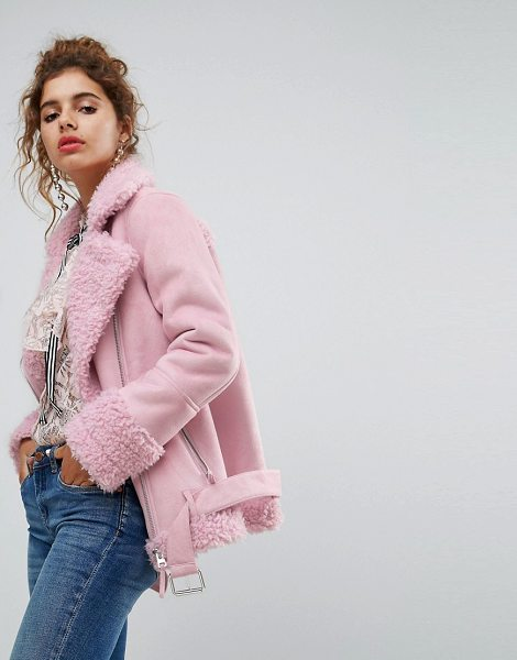 H by Henry Holland h! by henry holland oversized faux shearling jacket in pink - Jacket by H! by Henry Holland, Borg lining, Teddy-bear...