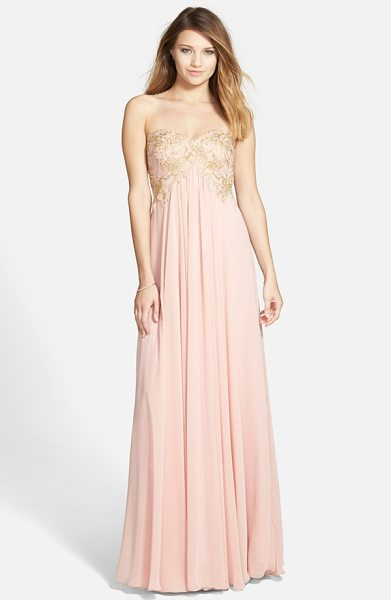 Hailey by Adrianna Papell embroidered chiffon strapless gown in icy pink