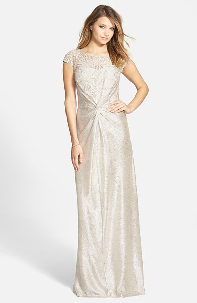 Hailey by Adrianna Papell metallic front twist gown in taupe - Swirling lace romances the bodice of this gorgeous...
