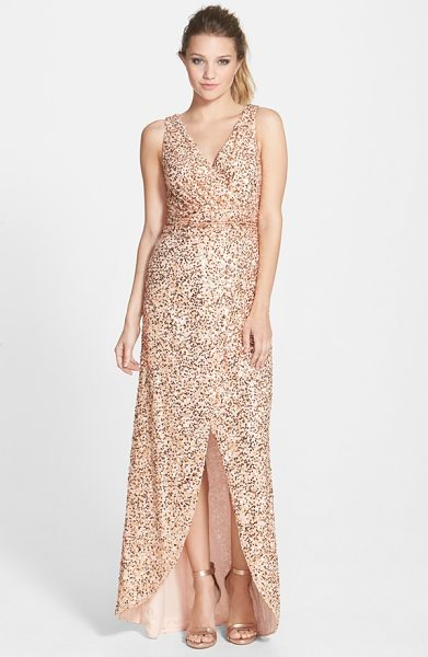 Hailey by Adrianna Papell sequin faux wrap gown in blush - Radiant sequins blanket this gorgeous gown with soft...