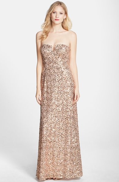 Hailey by Adrianna Papell sequin strapless gown in blush