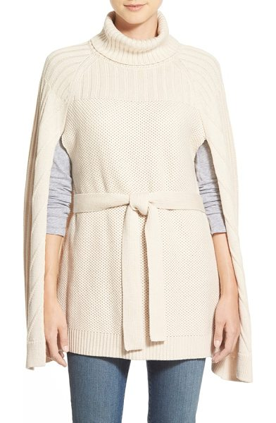 HALOGEN belted turtleneck poncho in beige beach - A tie belt adds waist-defining polish to a sweater-knit...