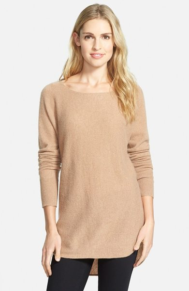 Halogen cashmere high/low tunic in heather dark camel - A ballet neckline and a high/low shirttail hem provide...