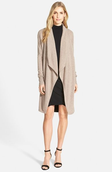 Halogen halogen cashmere long drape front cardigan in heather tan cobblestone - Wrap yourself in lush softness with a long cashmere...