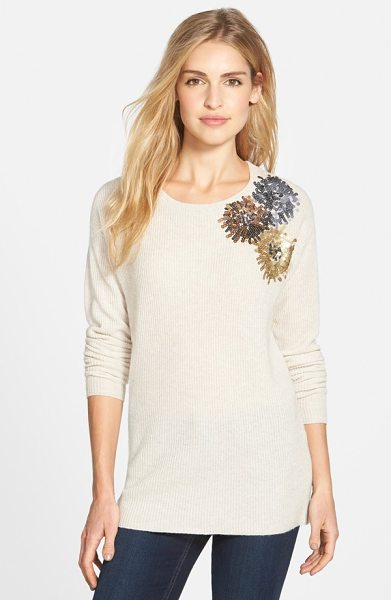 Halogen corsage embellished merino & cashmere sweater in oatmeal corsage pattern - Sequined blooms at one shoulder create a pretty corsage...