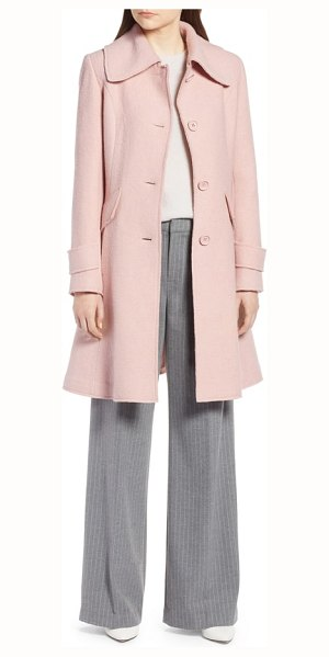 Halogen halogen boiled wool blend fit & flare coat in blush - Sweet and shapely, this sophisticated day-to-night coat...