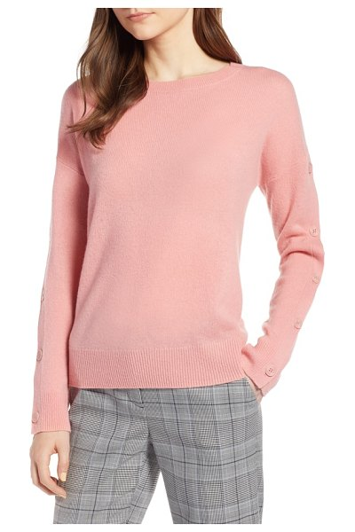 Halogen halogen cashmere button sleeve sweater in pink apricot - As the weather cools, cashmere comes calling, and this...