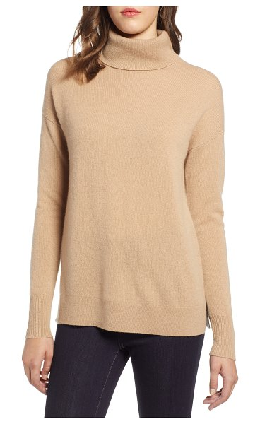 Halogen halogen cashmere turtleneck sweater in brown