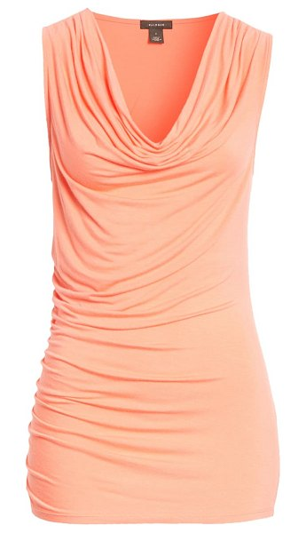 Halogen halogen cowl neck shell in coral