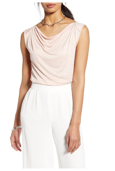 Halogen halogen drape front sleeveless knit top in pink