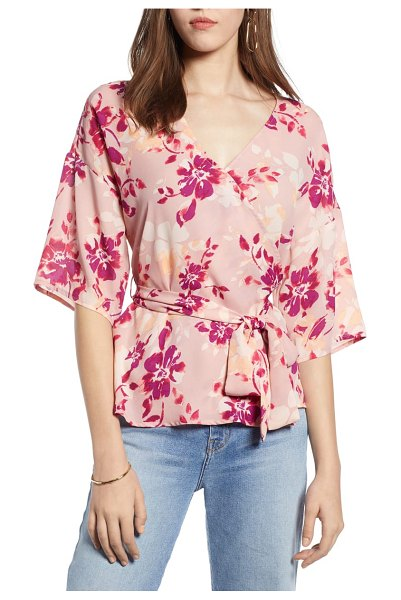 Halogen halogen faux wrap top in pink