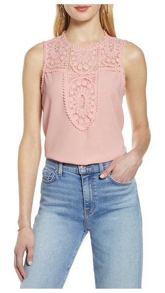 Halogen halogen lace & crepe top in pink