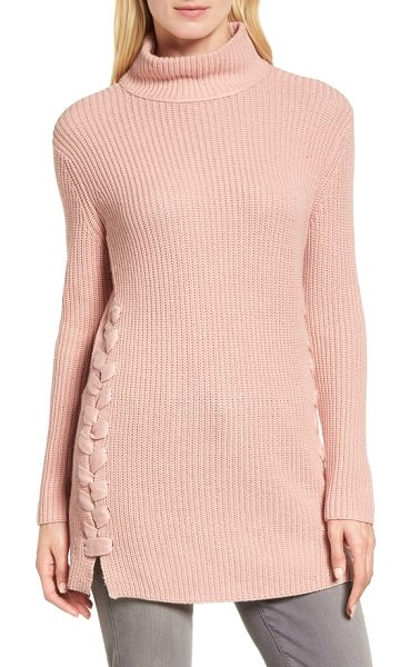 Halogen halogen lace-up side tunic sweater in pink smoke - Wide ribbons lace up the sides of this cashmere-kissed...
