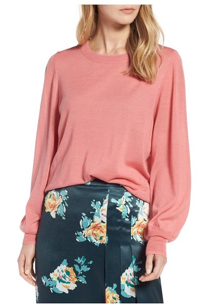 Halogen halogen puff sleeve sweater in pink apricot - Simple and classic enough for 9-to-5 and beyond, this...