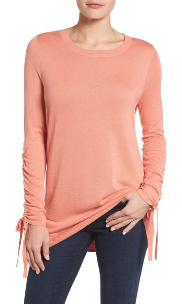 Halogen halogen ruched sleeve tunic sweater in coral terra - Ruched sleeves with dangly ties add eye-catching detail...