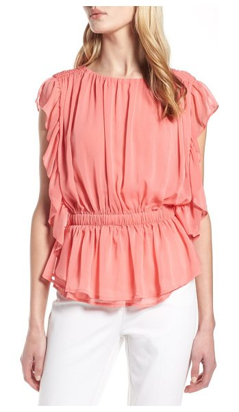 Halogen halogen ruffle chiffon blouse in coral rose tea - Fully frilled charm infuses this graceful top with...