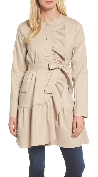 Halogen halogen ruffled trench coat in tan cobblestone - Lush ruffles cascade down the front and float along the...