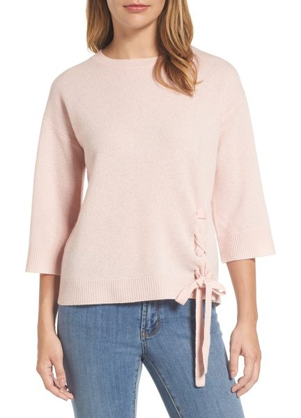 HALOGEN halogen side tie wool and cashmere sweater in pink smoke - Lace-up detail at the hem adds understated style to this...