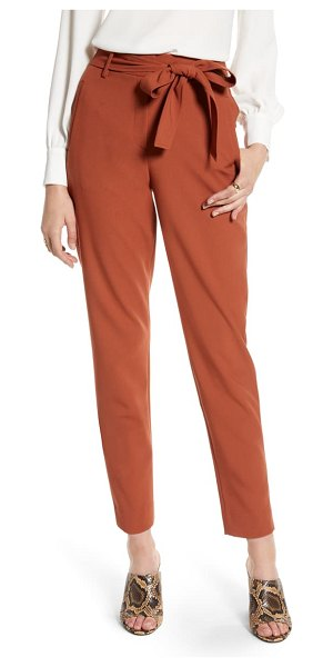 Halogen halogen tie waist twill ankle pants in brown