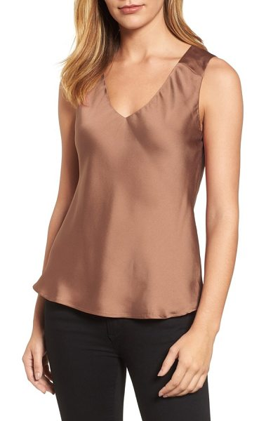 Halogen halogen v-neck satin tank in brown - Don this satiny tank to wow on date night, or wear it...