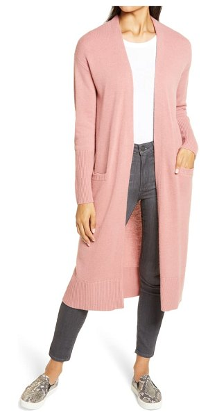 Halogen halogen wool & cashmere long cardigan in pink